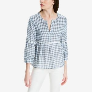 Max Studio | Gingham Empire Waist Babydoll Top